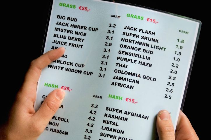 Marijuana and hash selections on an Amsterdam coffeeshop menu